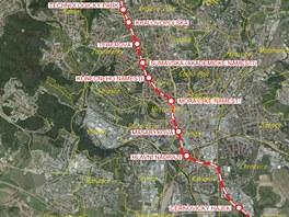 Detail trasy, po kter� povede Severoji�n� kolejov� diametr.
