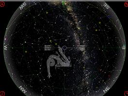 Co uvidíte na obloze 26.8.2011 (Praha). Výstup z aplikace GoSkyWatch pro iPad.