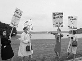 Protesty proti zavedení fluoridace v New Yorku v roce 1965. Obyvatelé