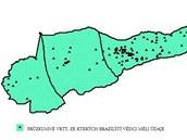 """Půdorys oblasti Amazonské pánve, ve které má protékat podzemní """"Hamzova řeka""""."""