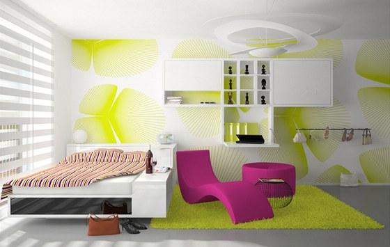 Jako barevný akcent funguje především pohovka s taburetem, koberec a výrazná