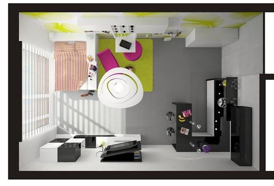 Navrhované řešení lze snadno změnit pro bydlení dvou osob.