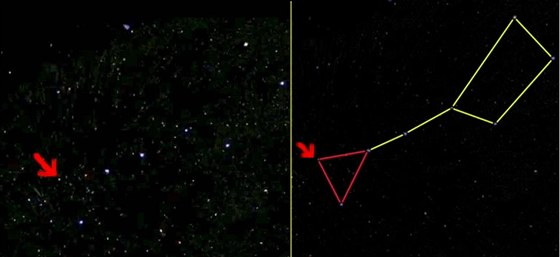 Šipka ukazuje, kde hledat spirální galaxii M101. Je za ojem Velkého vozu, který