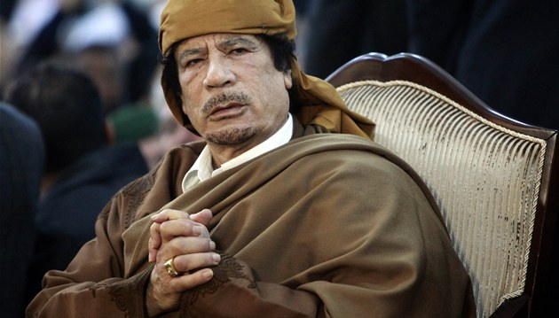 Libyjský v�dce Muammar Kaddáfí na archivním snímku