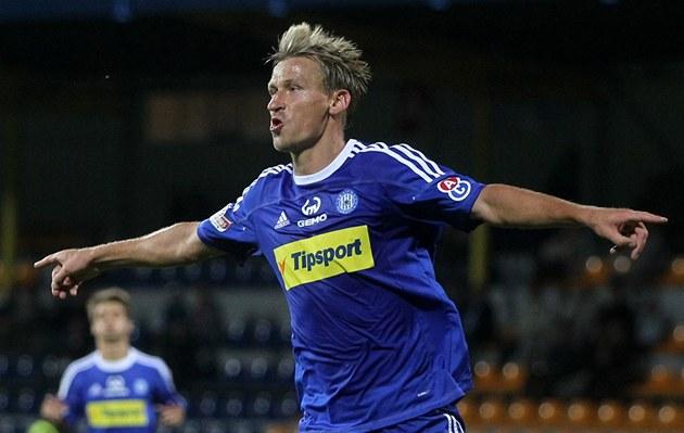 Marek Heinz slaví trefu Olomouce.