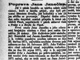 Článek v Pražském deníku o Janečkově popravě