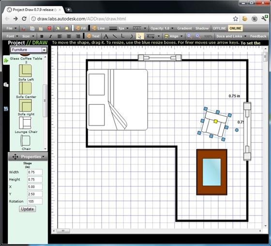 Různé typy nákresů a schémat vám pomůže vytvářet internetová aplikace Project