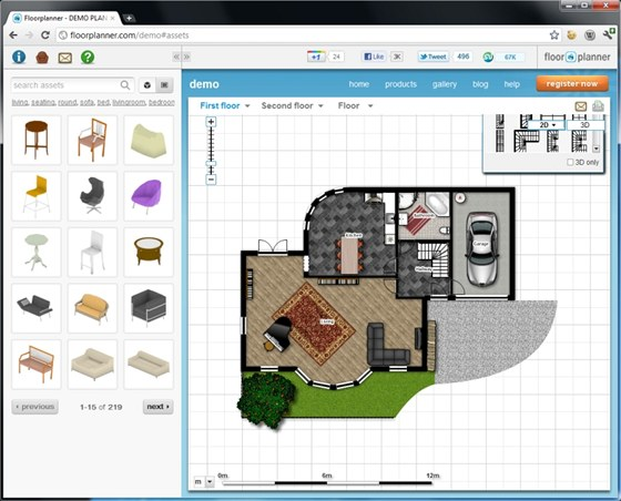 Floorplanner lze i v bezplatné verzi použít k perfektnímu návrhu interiérů i