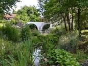 Osázené břehy potůčku, který napájí z kaskády rybníků obnovený vodní příkop
