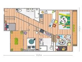 Plánek bytu s nábytkem