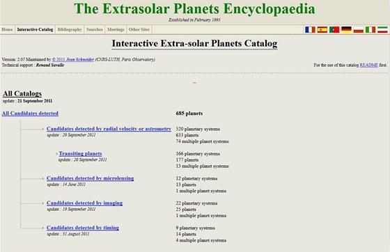 Domovská stránka katalogu exoplanet Jeana Schneidera