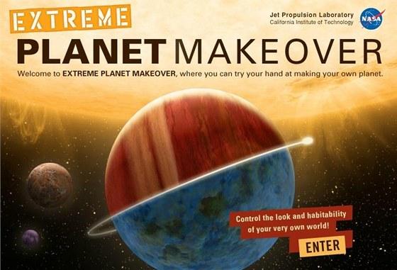 Jako plakát k velkofilmu vypadá úvodní stránka simulátoru planet PlanetMakeover