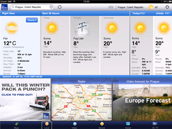 Aplikace pro iPad - The Weather Channel