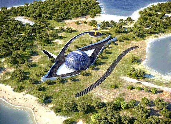 Tvar vily při leteckém pohledu připomíná staroegyptský znak Horova oka.