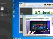 Porovnání rozdělení plochy Windows 8 pro dvě běžící aplikace a klasického