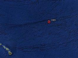 Místo dopadu satelitu UARS do Tichého oceánu mezi Havaj a stát Oregon.