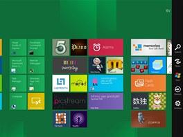 Základní nabídka menu ve Windows 8 při vytažení prstem z pravé strany