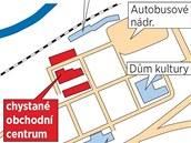 Plánek umístění nového obchodního centra ve Zlíně