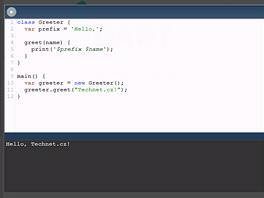 Zdrojový kód obligátního příkladu Hello, World si můžete hned v prohlížeči