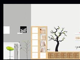 Návrh obývacího pokoje, knihovna a pohled do kuchyně