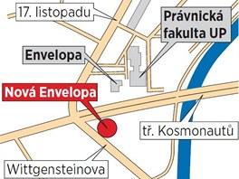 Mapka s vyznačeným místem, kde budou stát budovy Nové Envelopy