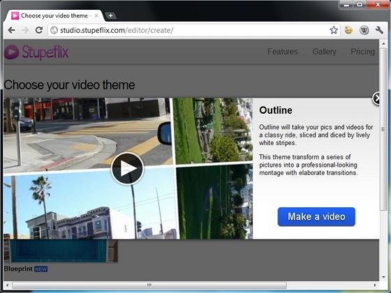 Online aplikace Stupeflix obsahuje několik šablon, s pomocí kterých lze