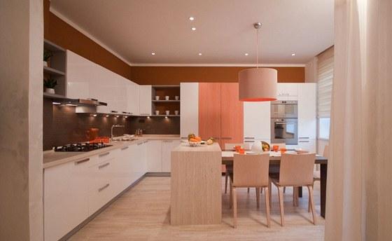 Příčku mezi předsíní a kuchyní nechali designéři vybourat.