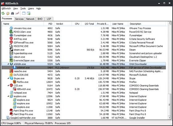 Open KillSwitch pečlivě sleduje všechny běžící procesy a služby a dokáže