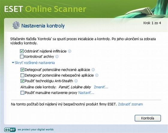 Online antiviry jako ESET Online Scanner zkontrolují váš počítač