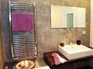 Povrch koupelnových zdí pokrývá betonová stěrka.