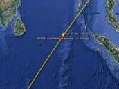 Oblast možného místa dopadu satelitu Rosat podle amerických údajů, které