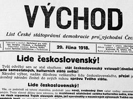 Takhle vítal vznik Československa regionální list Východ