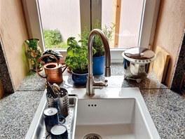 Mytí nádobí si lze zpříjemnit výhledem do malé zahrádky.
