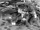Chebské nádraží a jeho okolí po bombardování v roce 1945, záběr z