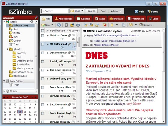 Přehledný e-mailový klient Zimbra Desktop nabídne propojení se sociálními