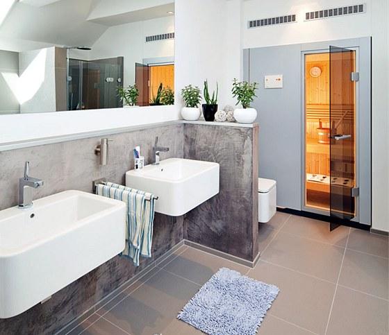 Koupelna se saunou v patře