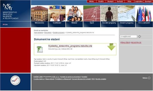 Printscreen webu ministerstva �kolství s voln� p�ístupným dokumentem s osobními