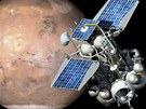 Ilustrace sondy Phobos Grunt na oběžné dráze kolem Marsu. Samotný Phobos  je
