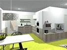 Kuchyňská linka je v kombinaci bílé barvy a šedého dřeva.