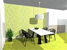 Výrazným prvkem je zelená podlahová krytina.