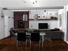 Pohled do obývacího pokoje a kuchyně