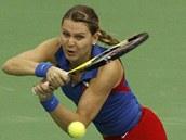 SNAHA. Lucie �AF��OV� bojuje ve fedcupov�m utk�n� proti Anastasii