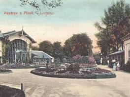 Historická pohlednice z lochotínských lázní