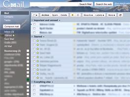Tradiční vzhled Gmailu (vylepšený o grafické téma a Boomerang)