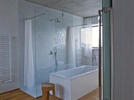 Ve 24 m2; velké koupelně je položena méně obvyklá dřevěná podlaha, je napuštěná