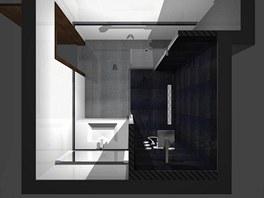 Koupelna s velkým sprchovým koutem a nikou pro pračku a sušičku