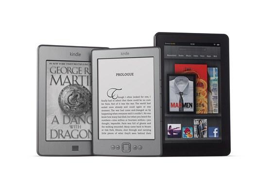Nové modely rodiny Kindle: zleva Kindle Touch, Kindle a tablet Kindle Fire