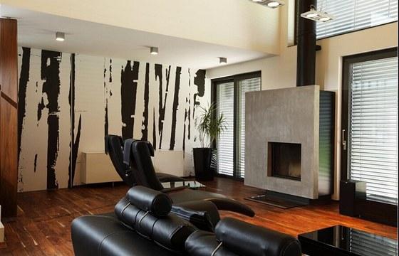 Černobílá grafika smotivem bambusového lesa a atypický betonový krb