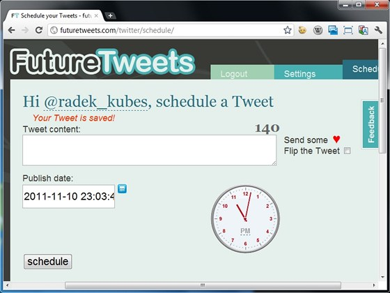 Internetová aplikace FutureTweets publikuje připravené tweety v určený den a čas