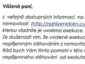 Dopis, ve kter�m se pan� Jaroslava dozv�d�la o exekuci.